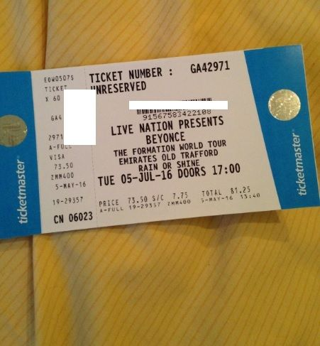 Beyonce 2 x Tickets Manchester Old Trafford 5th July Standing World Tour Live Concert