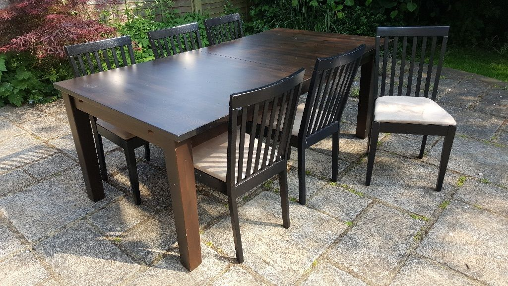 IKEA Stornas table, Ingolf bench & 6 Free chairs