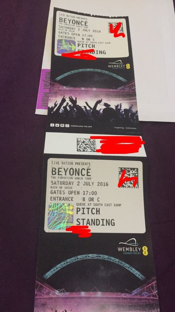 2x Beyonce 'The Formation World tour' Standing tickets Wembley Stadium Saturday 2nd july