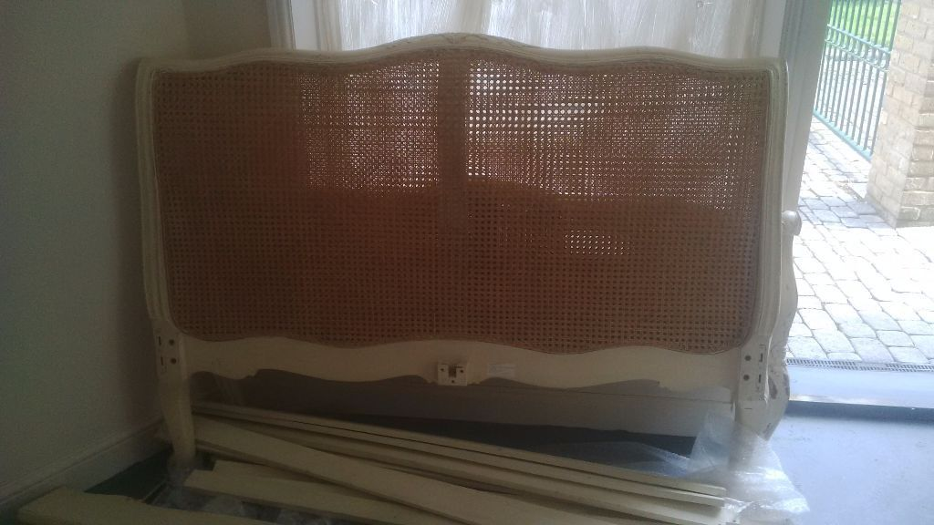 Shabby Chic Double Bed with Carved Detailing and Rattan Headboard