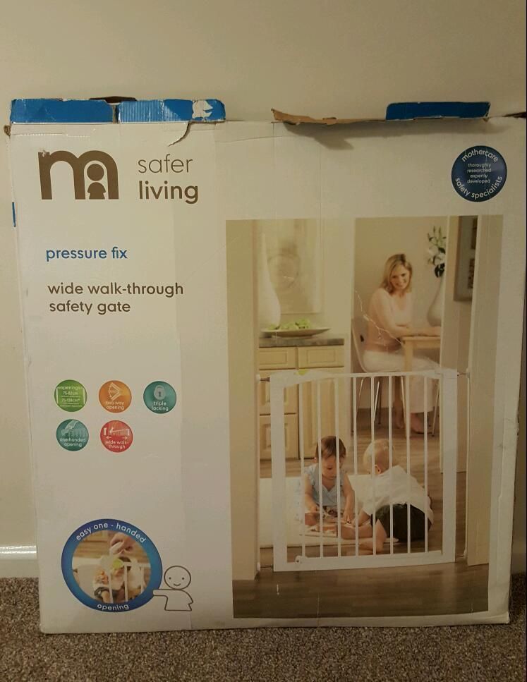 Wide walk-through safety gate with pressure fix from Mothercare