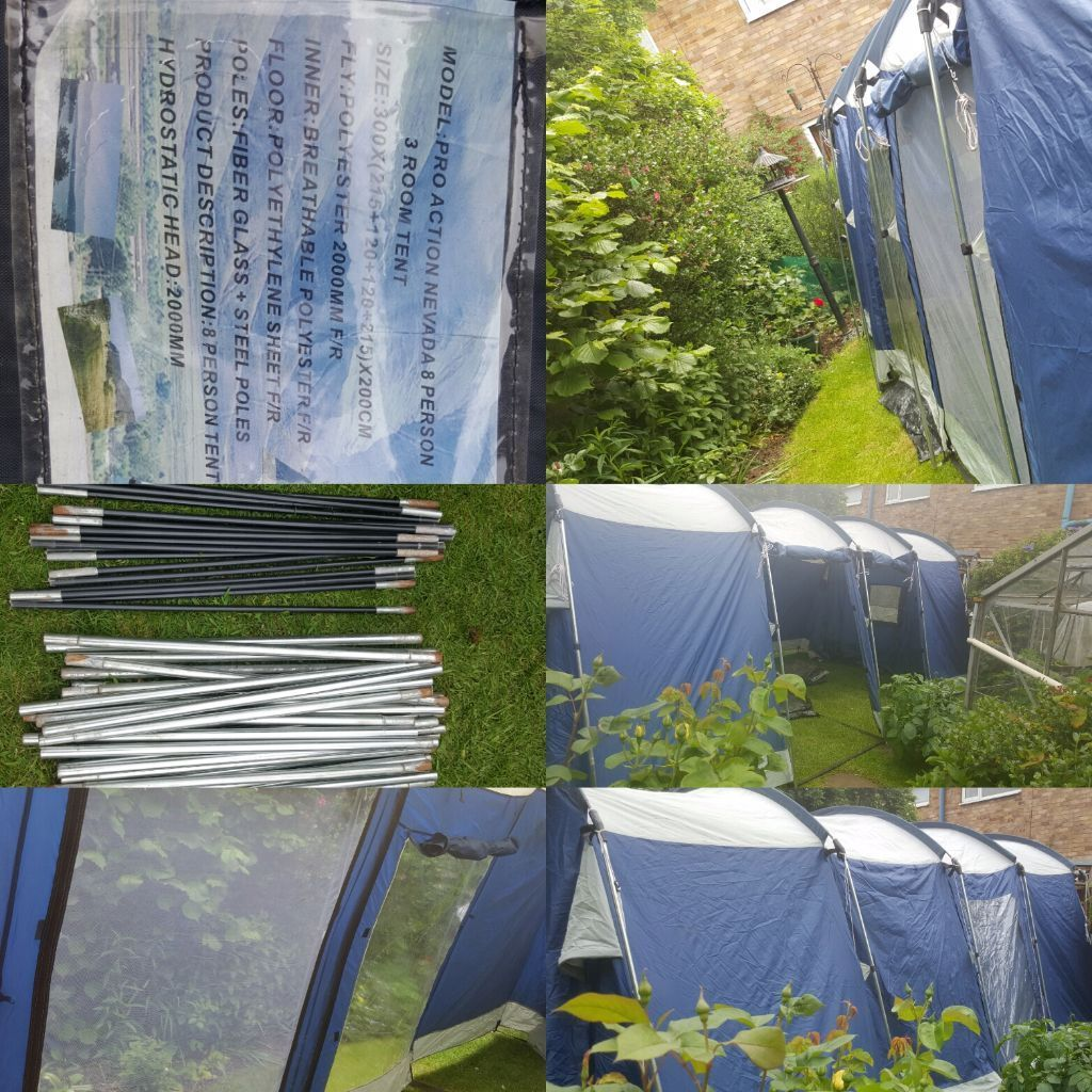 Pro Action 8 man tent used condition