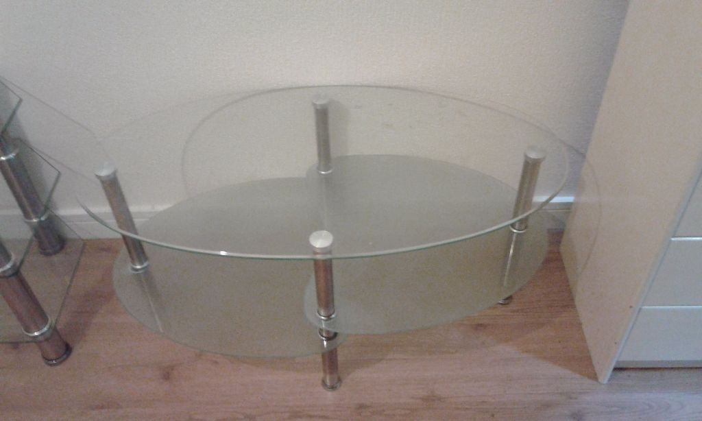 Glass tv stand and glass table