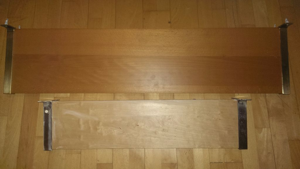 2 x Quality Wooden Shelves / Stainless Steel Edging (Heavy Items)