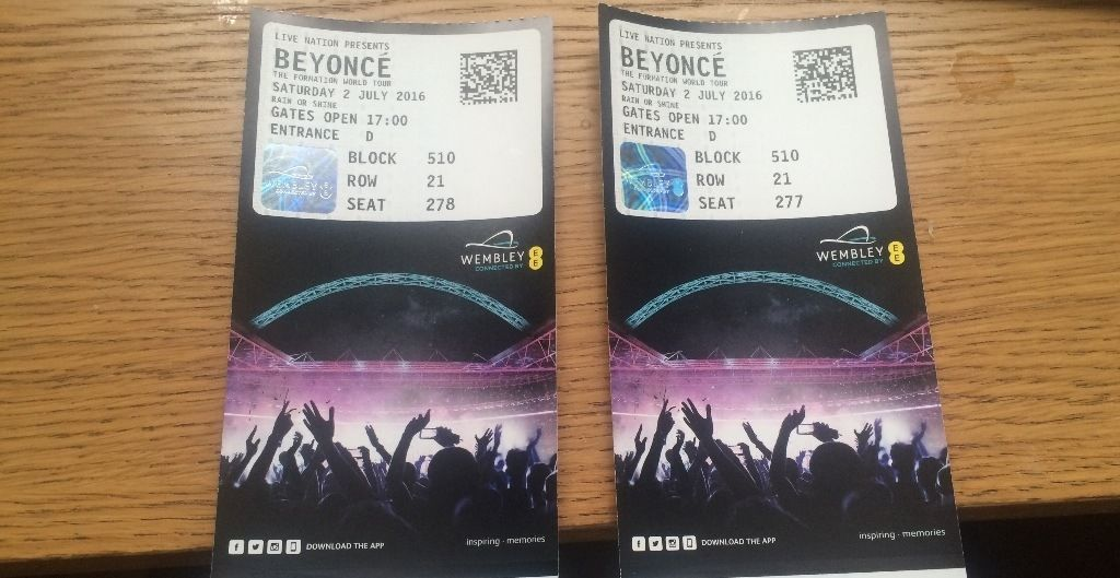 Beyonce 2nd July Seated Tickets