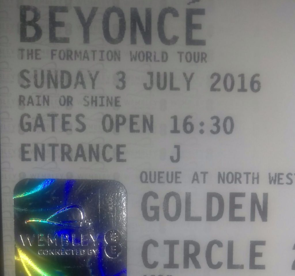 Beyonce Golden Circle Tickets x2 Sunday 3rd July 2016