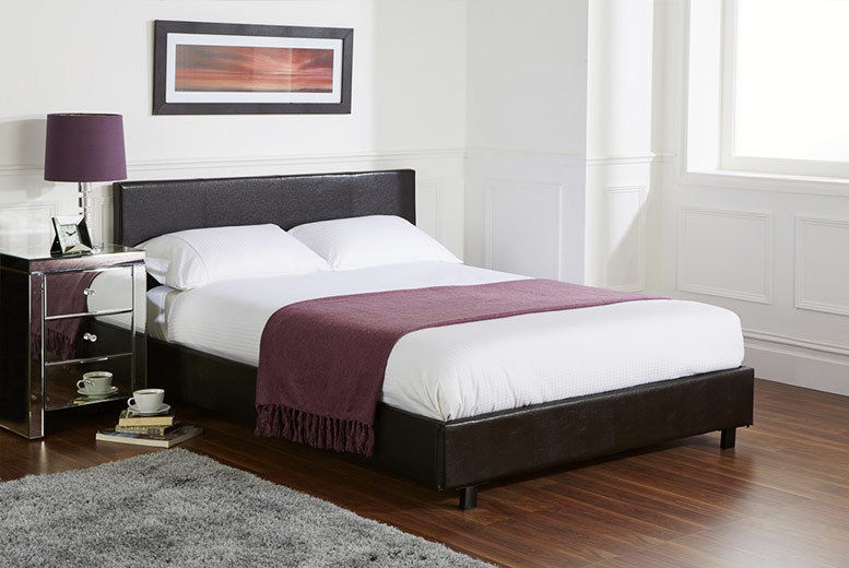 **Brand New**Kingsize Leather Bed With Crown Orthopaedic 12inch Dual Sided Mattress**Special Offer**