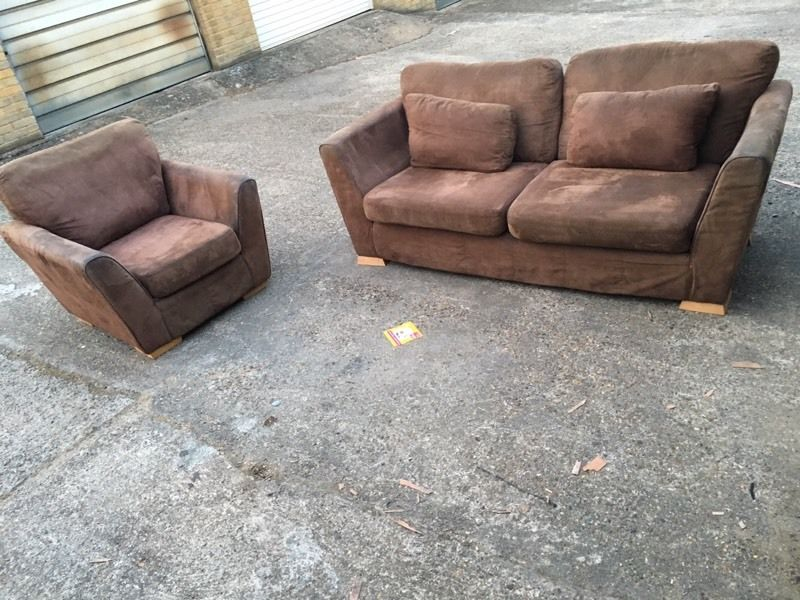 2x Suede Sofa, Free delivery