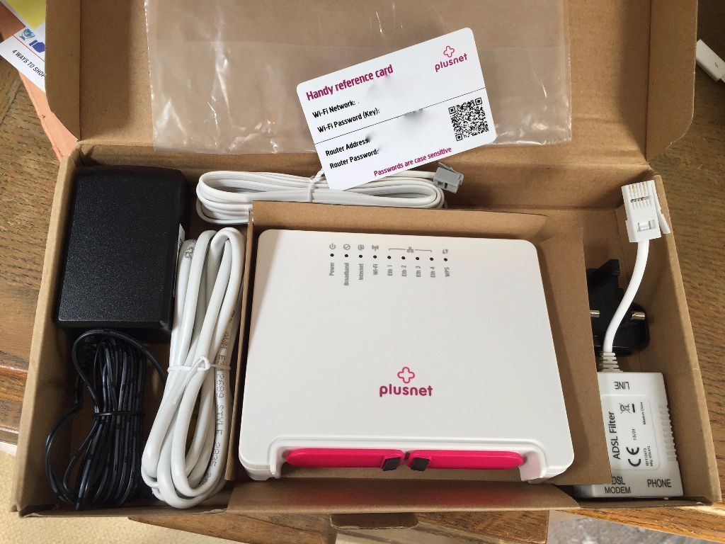 PlusNet Router 2704N boxed with all cables