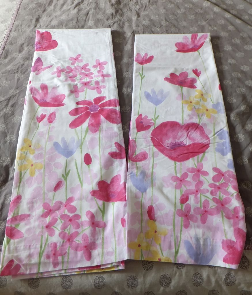 Watercolour Floral Patterned Tab Top Lined Curtains from Next