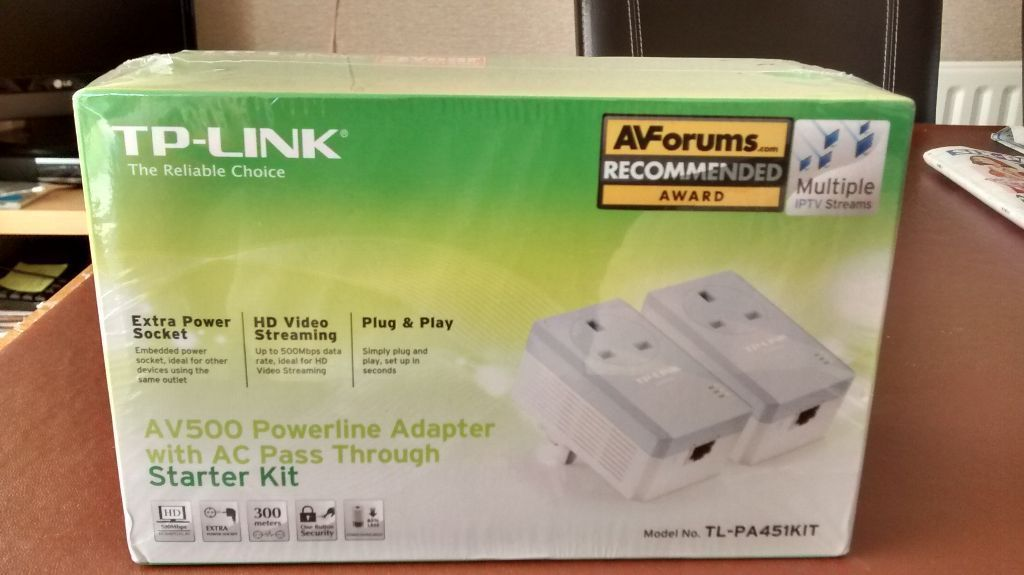TP LINK POWERLINE HOMEPLUGS TL-PA451KIT WITH PASSTHROUGH