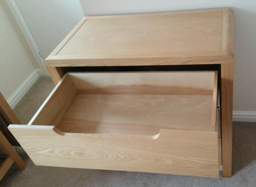 Next oak effect 3 drawer chest of drawers and bedside table
