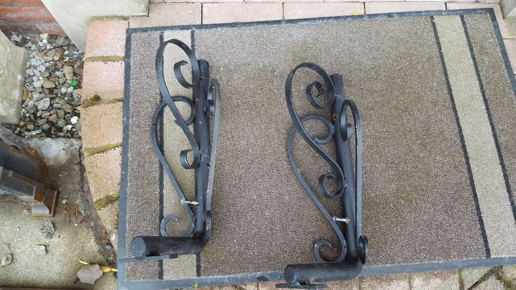 Two iron mantelpiece or beam supports