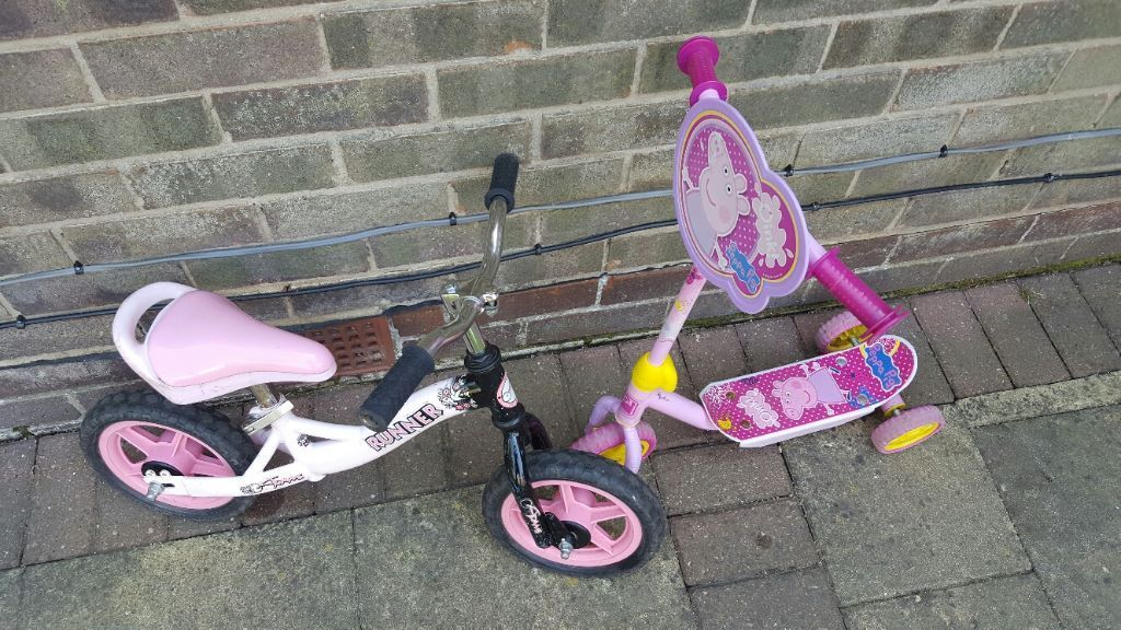 Balance bike and Peppa Pig Scooter