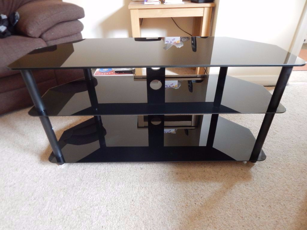 3 Tier Glass/Metal TV Stand (Black)