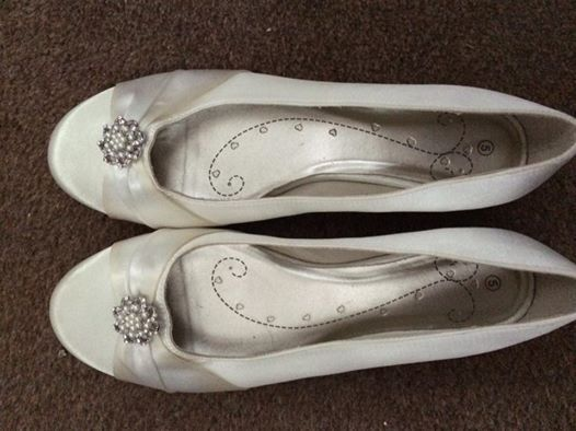 Flat Ivory with pearl detail wedding shoes