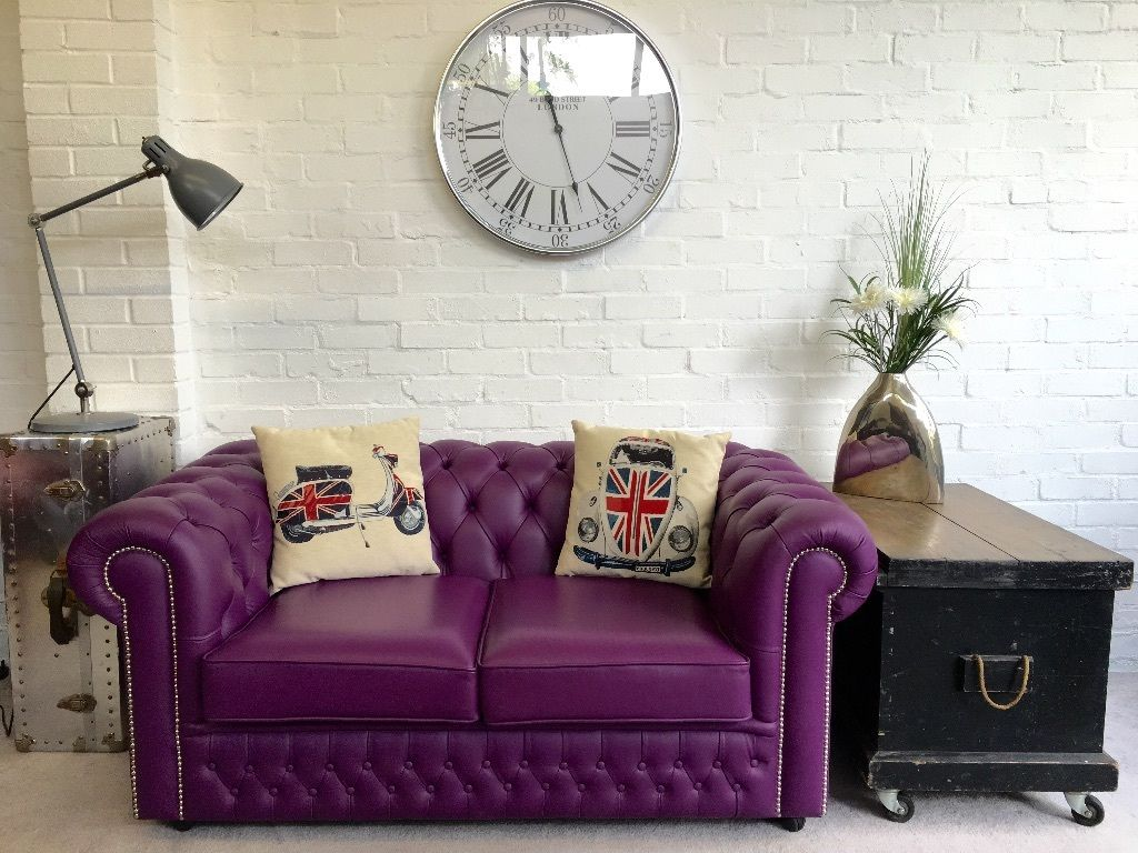 Stunning purple SAXON Chesterfield sofa. Can deliver