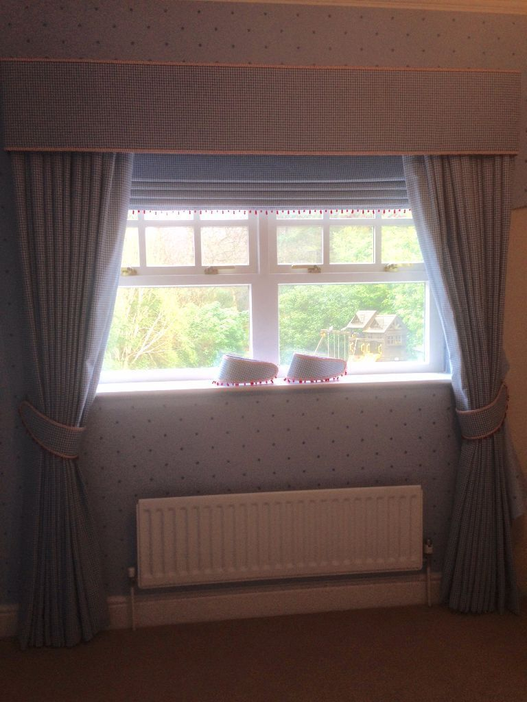 Upmarket blue chess curtains with pelmet - offers welcomed!
