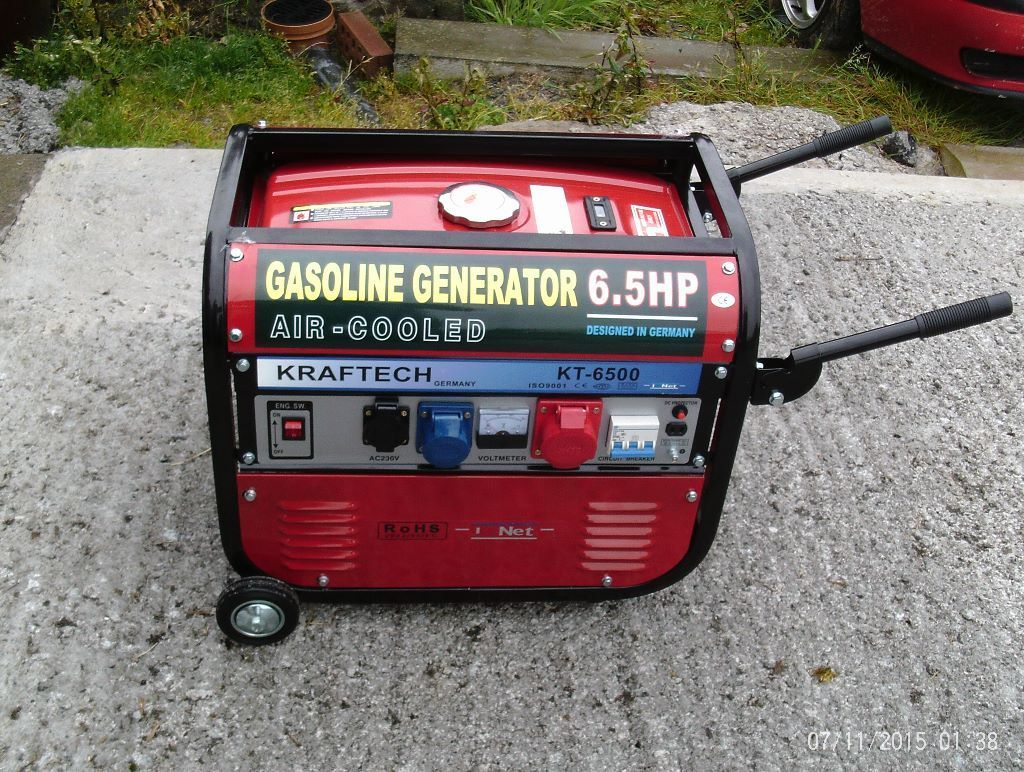 Kraftech KT6500 Petrol generator NEW 6.5KW 6.5HP engine