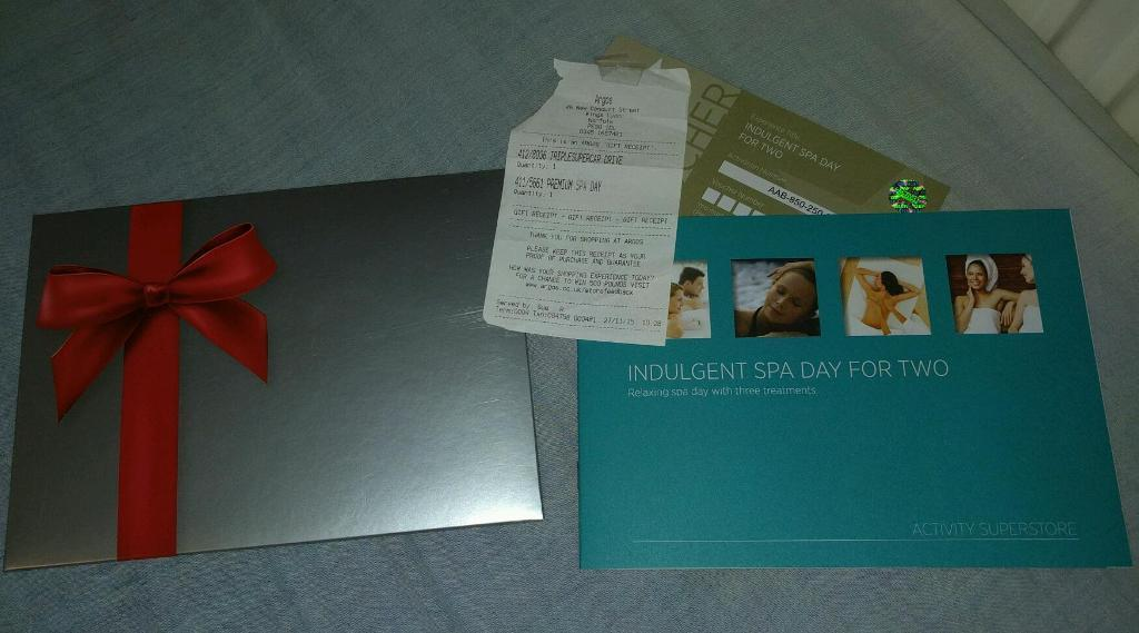 Indulgent spa day for two, Argos experience day was 149.99