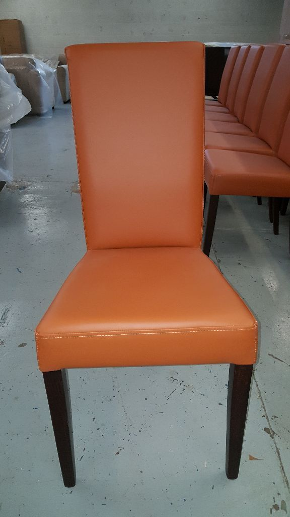 Brand New 6x ARINA Dining Chairs faux leather & dark walnut legs (48 Chairs Available) Can/Deliver