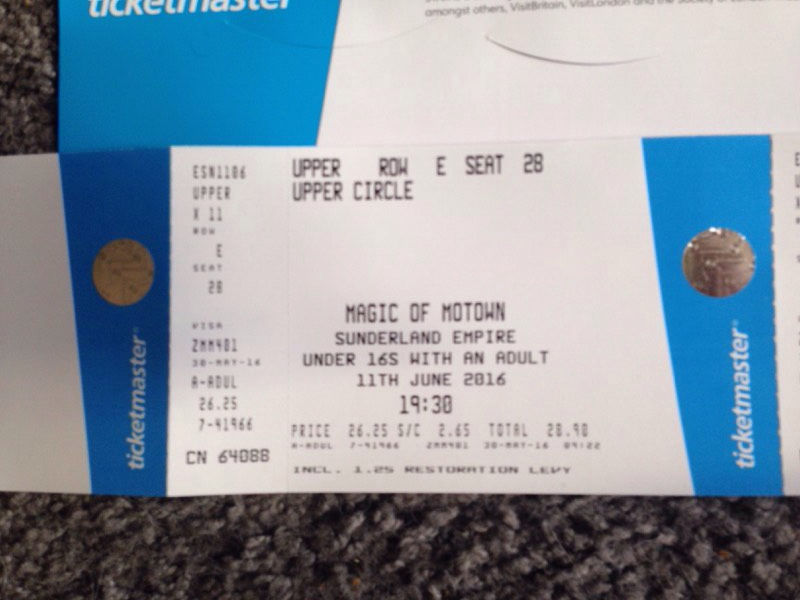 Great Centre Stall Tickets X 2 'Magic Of Motown' Sunderland Empire 11th June 2016