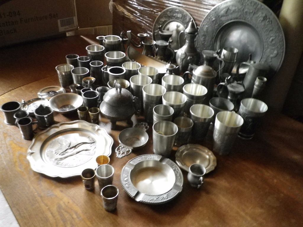 66 TIN ITEMS plates, tumblers, jars, trivets, candlesticks and more ... MUST GO