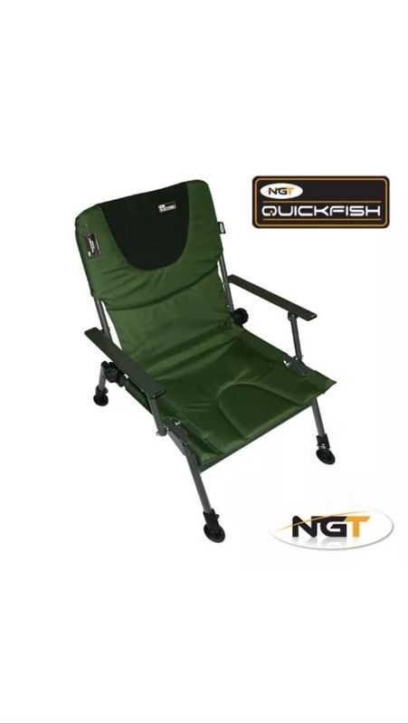 NEW NGT Reclining Folding Quickfish Chair With Armrests & Large Mud Feet