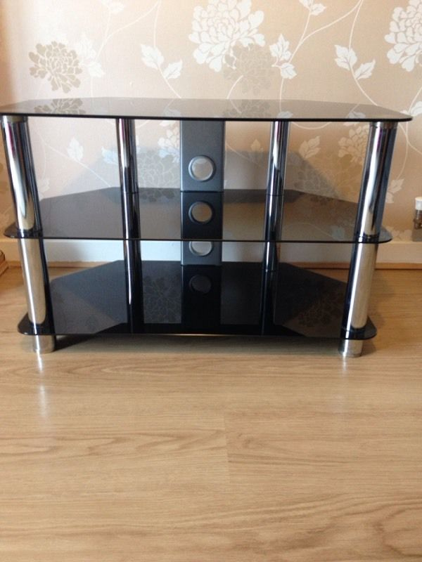 Black glass TV Stand table 3 tier