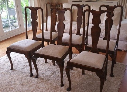 6 Antique High Back Dining Chairs