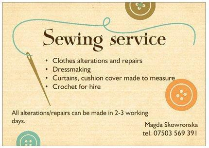 Sewing Service/Dressmaking/Clothes alterations