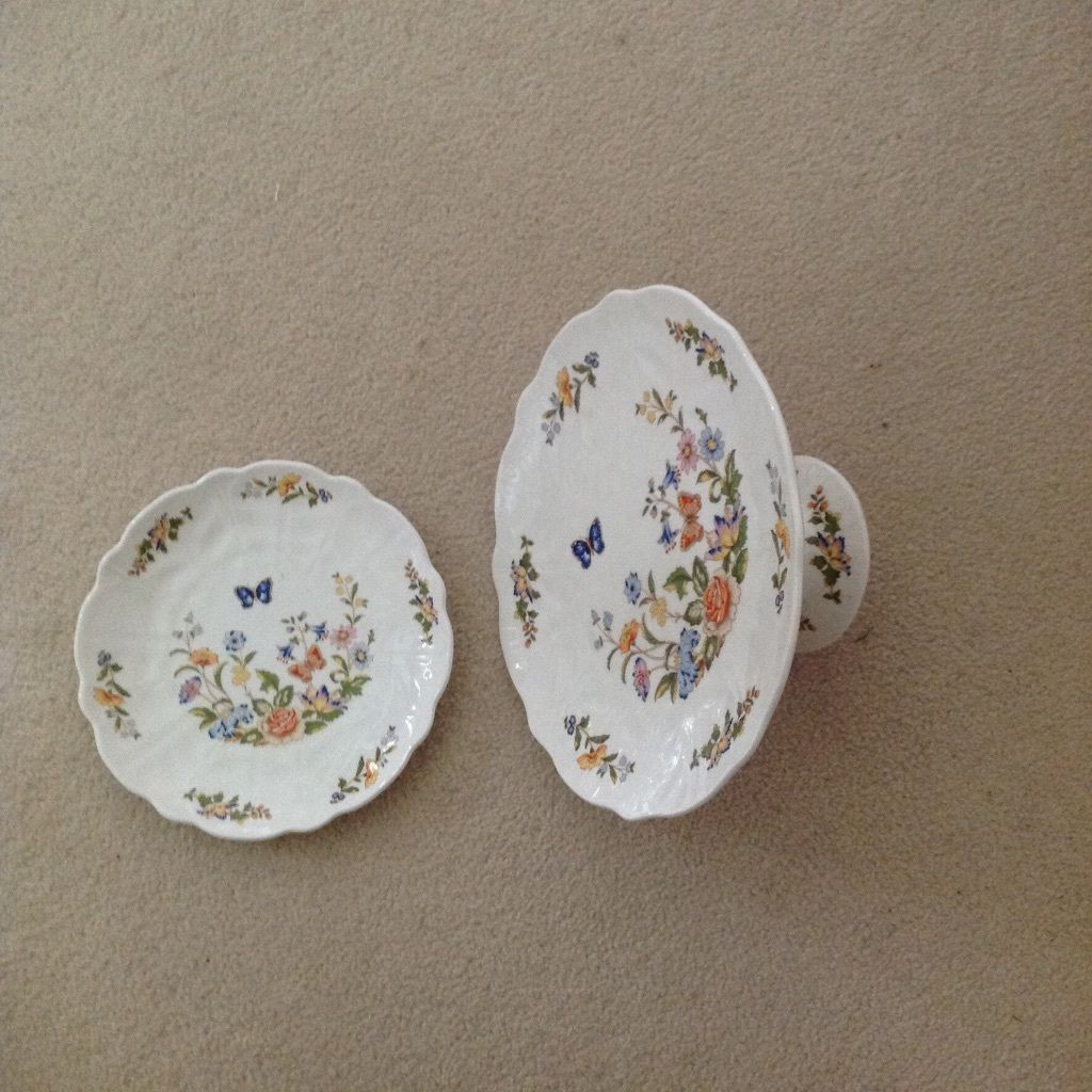 Aynsley cottage Garden Pedestal Cake Stand and Plate