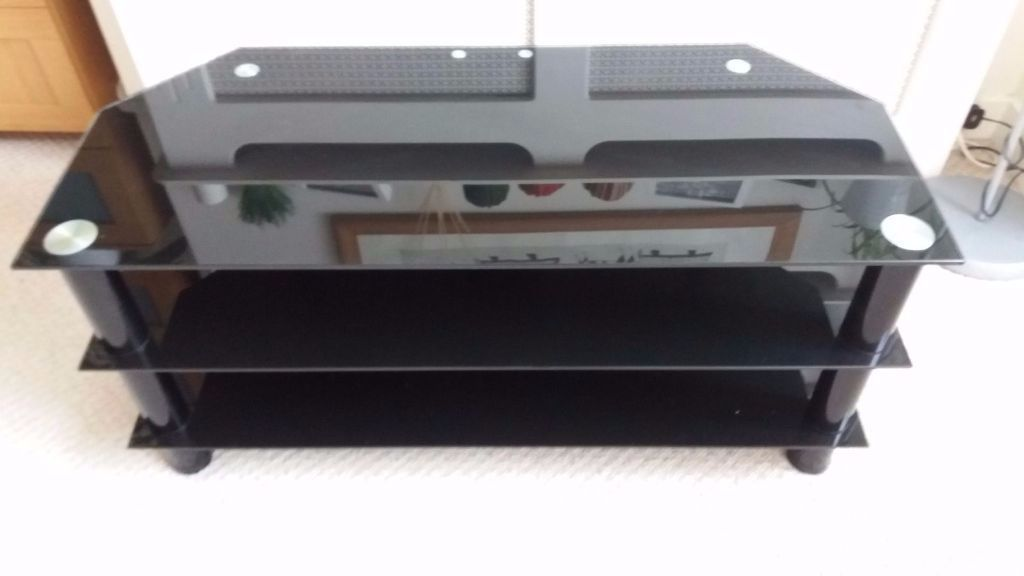 Black Glass Tv stand, excellent condition