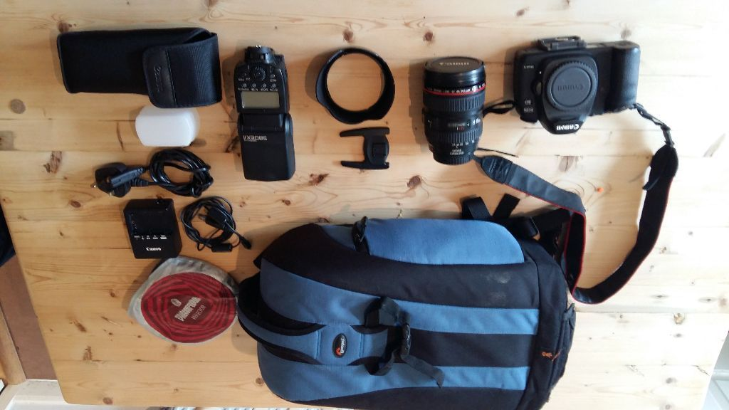Canon EOS 5D Mark II + 24-105mm f/4L IS USM lens + Canon 580EX II flash + Manfrotto bag