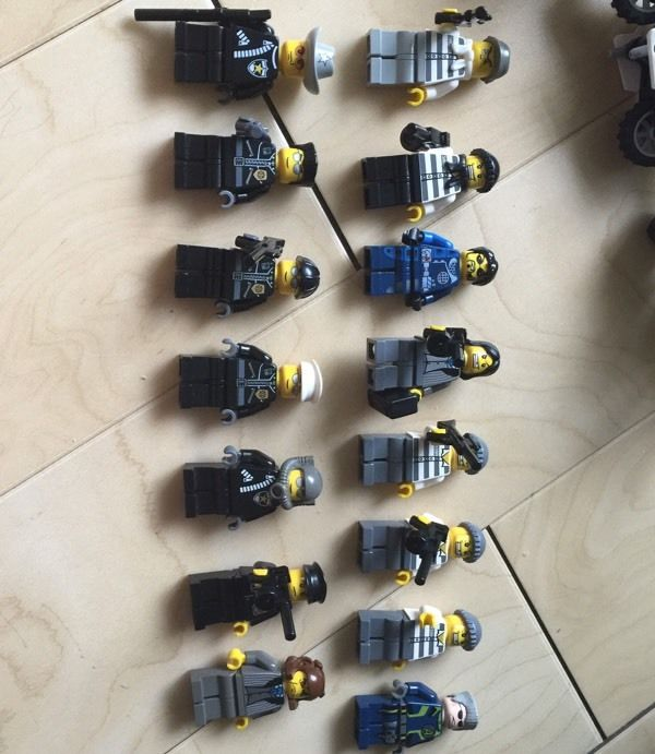 Lego police and robbers figures and vehicles