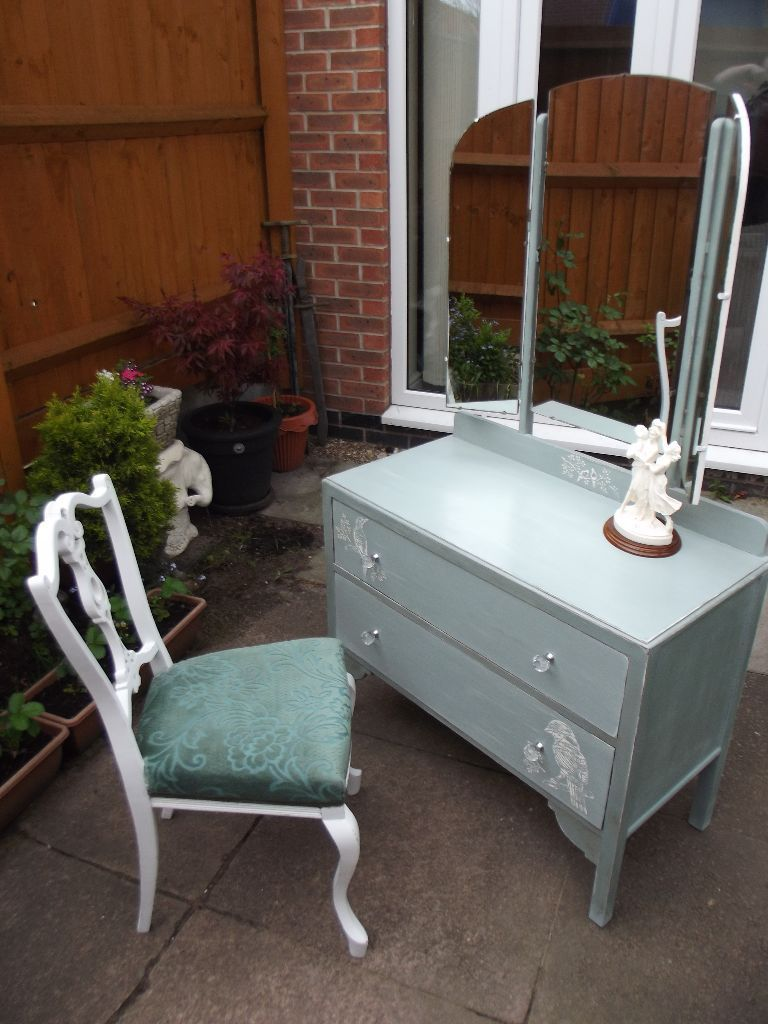 Shabby Chic Dressing table and chair Hand painted A.Sloan Duck Egg Blue