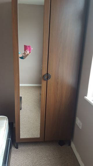 brown wardrobe with mirror in good condition