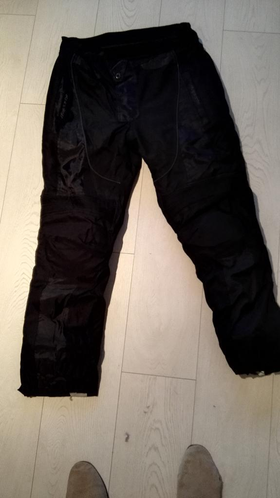 motorbike trousers waterproof with knee protectors, back. size L 52/32