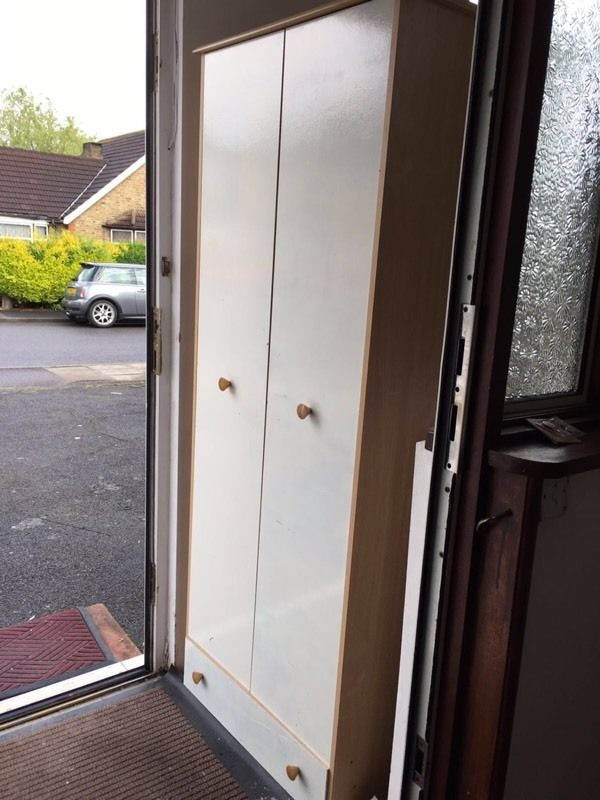 White 2 door with draw wardrobe
