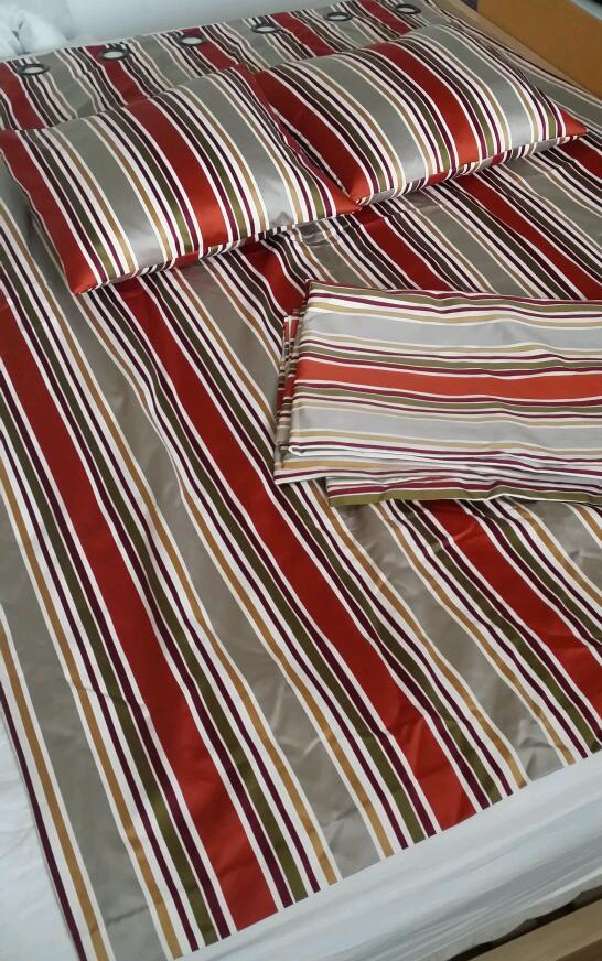 Pair of Excellent Quality Striped Curtains and match cushions
