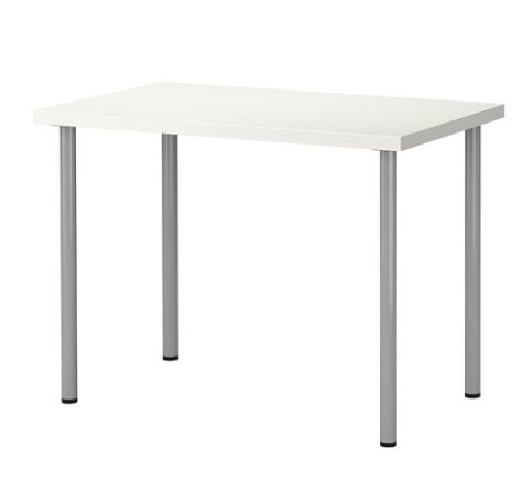 Ikea table / desk, white top with silver legs