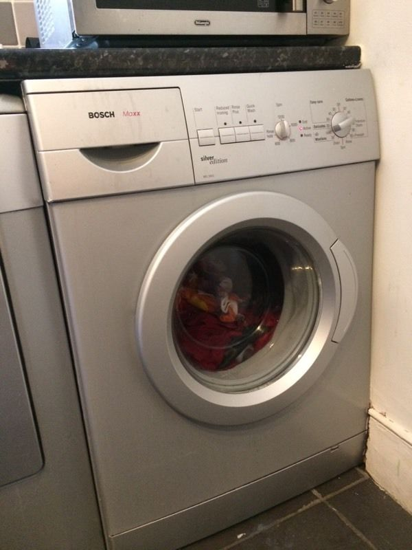 Silver Bosch washing machine