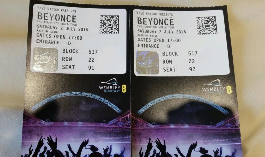 Beyonce Wembley x2 tickets Saturday 2nd July