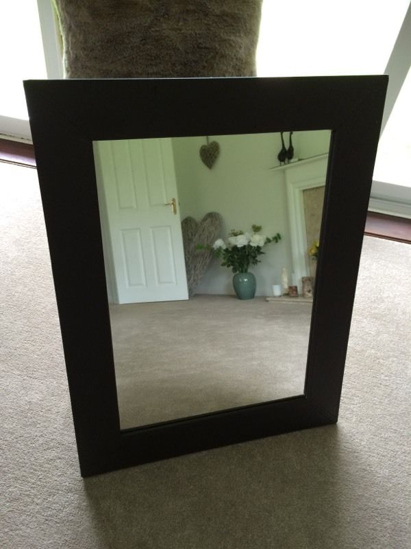 Hombase brown faux leather mirror
