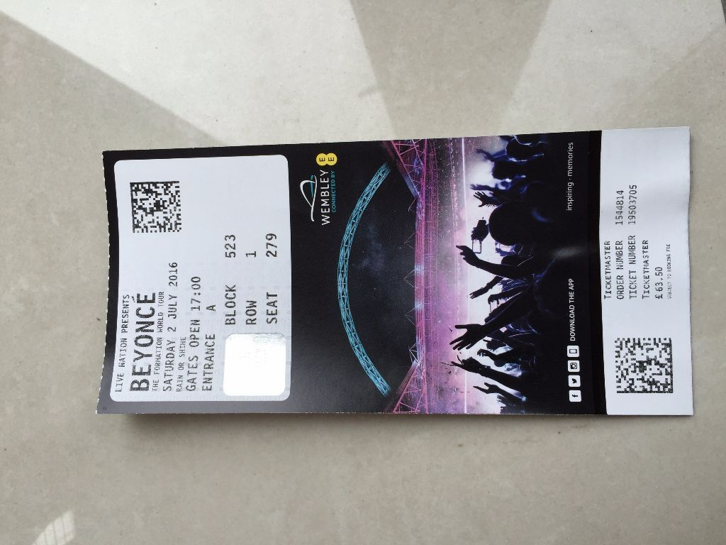 2 X Beyoncé Tickets - 2nd July Wembley Seated Tickets