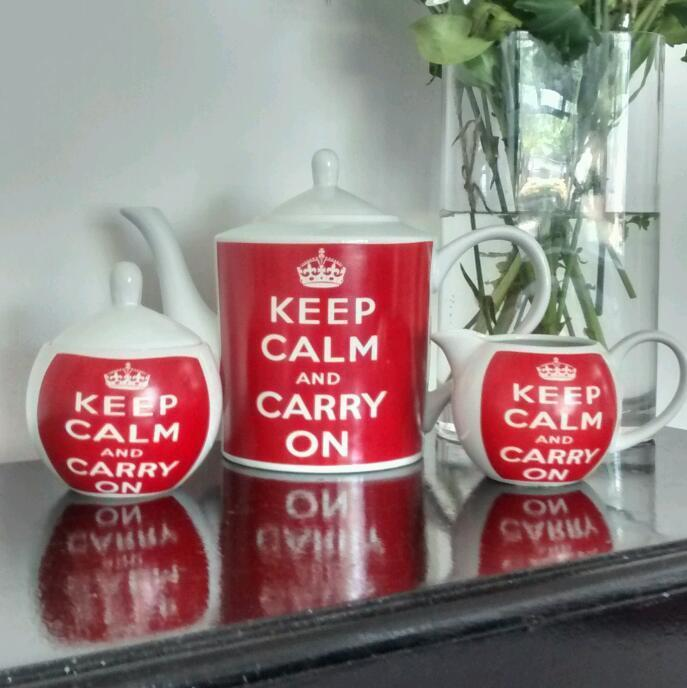 Keep calm and carry on tea set. Teapot, mill jug, sugar pot.