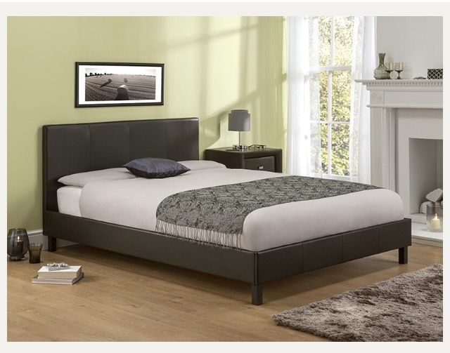 Manhattan brown leather bed frame