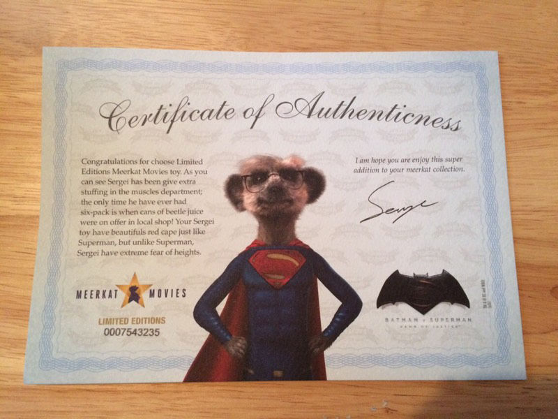 Limited edition superman meerkat toy