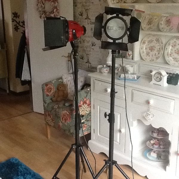 A PAIR OF RED HEAD PORTABLE STUDIO LIGHTING