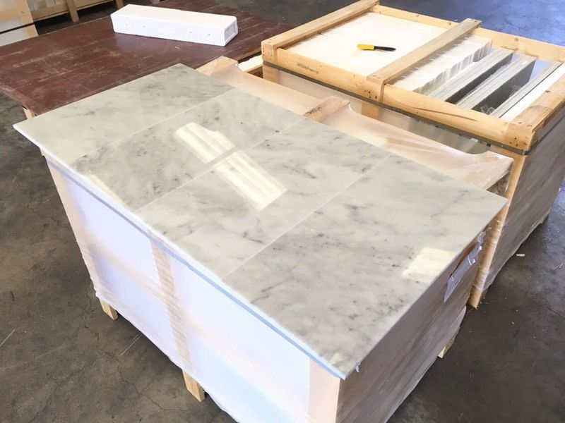 Bianco Carrara polished Italian marble tiles 300x600mm floor and wall marble tiles